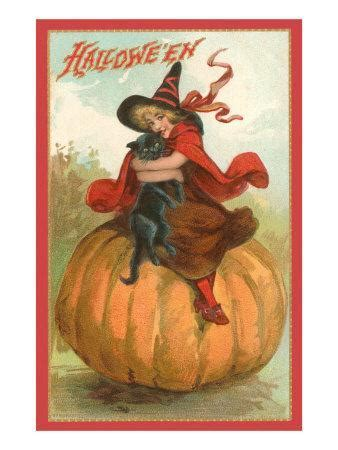 Halloween, Victorian Witch on Pumpkin Photo at AllPosters