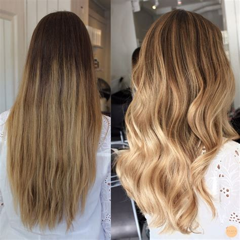 before and after natural blonde balayage sombre   Blond