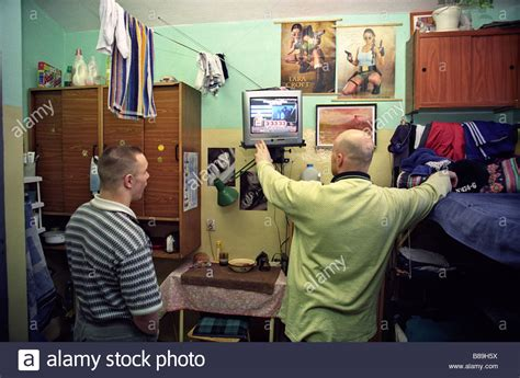 two inmates in prison cell, Poland