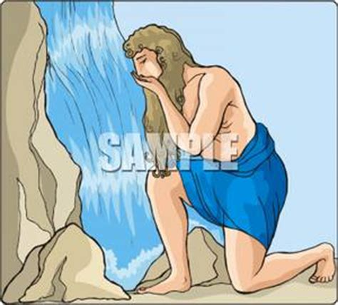 A Colorful Cartoon of a Man Drinking From a Waterfall