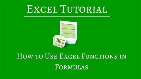How to Use Excel Functions in Formulas